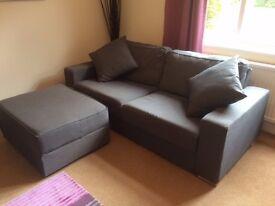 Nabru 3-Seater Modular Sofa with matching Footrest - Graphite Grey Fabric
