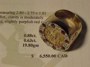 CALLING SHELBY LOVERS!! Classey Solid 10k yellow gold Custom ring with VVS diamonds and Natural Rubies. 6 1/2 19.8 Grams