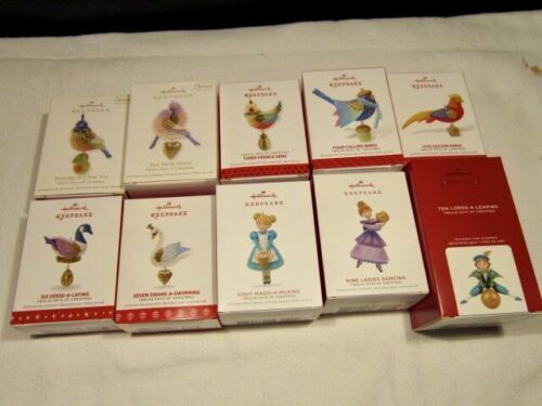 Hallmark Ornaments Seven 7 Days of Christmas 2011 through 2017 NEW IN BOX