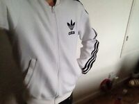 White Adidas Track Top (Small)