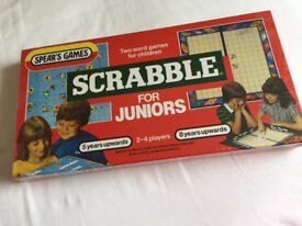 Rare Vintage Sealed SCRABBLE for JUNIORS 1983 with 2 Word Games by Spears Games