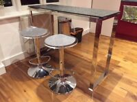 Bar Table (John Lewis - Frost collection) + 2 Bar Stools