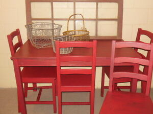 wood table and chairs in red London Ontario image 6