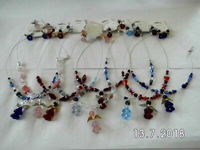 Halskette mit Anhänger und Ohrringe aus Glas Schutzengel, rot, blau, pink Perlen ()