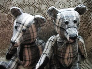 """19"""" PLAID CHECK BLACK AND WHITE JOINTED TEDDY BEAR"""