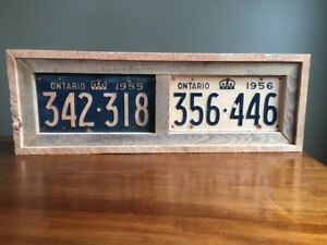 1955/1956 Ontario License Plates in rustic frame