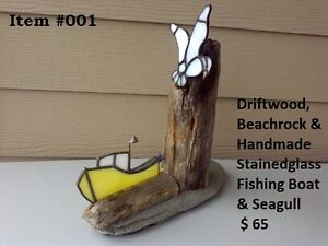 Driftwood/ Stained Glass/ Beachrock- Unique Art ($20 to $75)