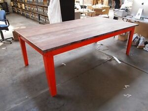 Industrial Solid Hardwood Dining Table or Desk with Steel Base Brunswick Moreland Area Preview