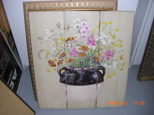 ART COUNTRY RUSTIC FLOWERS HAND PAINTED ON WOOD - GORGEOUS!