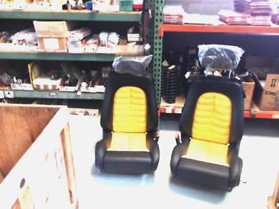 Ferrari SEAT SET NEW 65143700 & 65143800 FOR 550 575  BLACK W YELLOW INSERTS