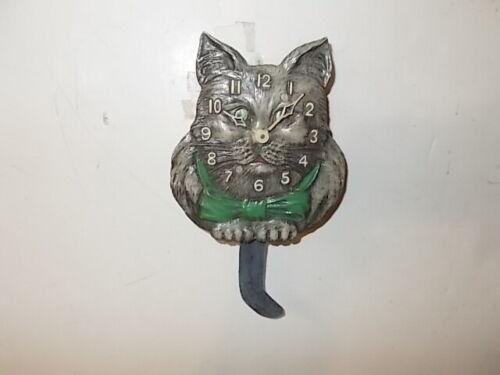 "Lux ""Gray Cat With Green Ribbon"" Miniature Pendulette Clock Circa. 1940"