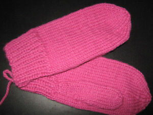 Hand-knit mitts
