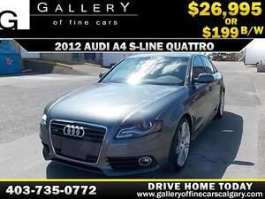 2012 Audi A4 S-Line QUATTRO $199 bi-weekly APPLY NOW DRIVE NOW