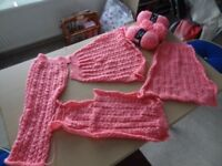 Pink unfinished wool/acrylic cardigan/jacket