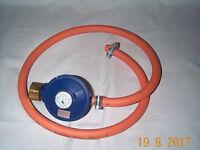 Gas bottle regulator for Calor 4.5 kg butane bottle + pipe and fittings £7. Collect Pontardawe SA8..