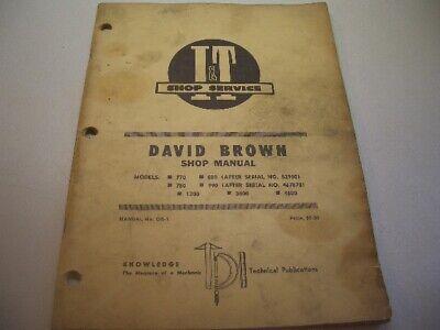 It Shop Manual David Brown Model 770 780 880 990 1200 3800 4600 1969 Db-1 J7