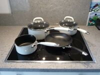 3 saucepans and frying pan set