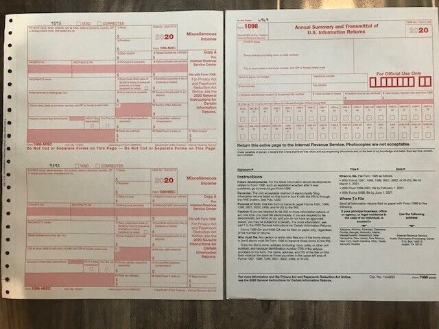 (6) 2020 IRS TAX FORMS 1099-MISC (6 Recipients) + 1 FORM 1096 Business & Industrial
