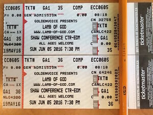 2 LAMB OF GOD tickets for June 5th ($80.00 for both)