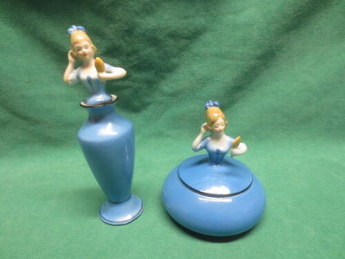vtg German Art Deco Lady Matching Perfume and Powder Jars