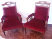 PAIR OF ANTIQUE EDWARDIAN OAK FIRESIDE ARMCHAIRS IN STUNNING CONDITION