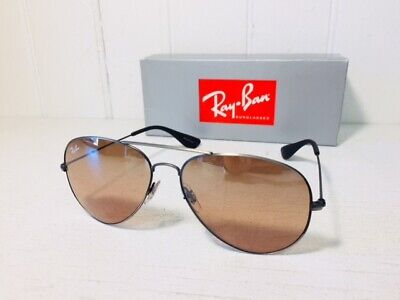 RAY-BAN RB3558 91396U AVIATOR Antique Black w Brown Gradient Lenses Suns $168