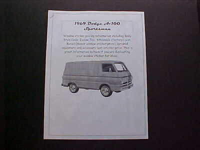 1969 Dodge A-100 dealer cost/window list sticker price for van/truck+options '69 for sale  Shipping to Canada