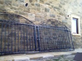 Wrought Iron Double Gates (2) with wheels & Posts included