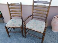 Six High quality Wesley Barrel Dining Chairs, 4 Seats and two Carver
