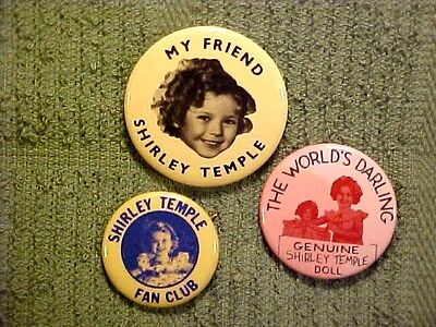 3 SHIRLEY TEMPLE Doll, My Friend Fan Club Collectible Pinbacks Buttons Pins - $14.89