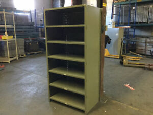 "Industrial steel shelving - 18"" deep x 4' wide."