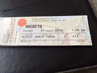2 Tickets to Macbeth at The Globe Theatre - Sunday 31st July