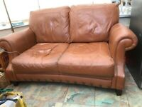 3 Piece Tan Leather Suite , FREE buyer to collect WIGAN