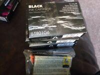 5 Compatible Black Ink Cartridges T801