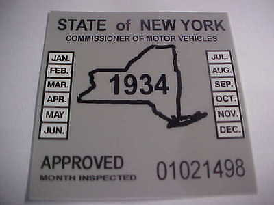 new york 1934 inspection sticker windshild model t / street rod