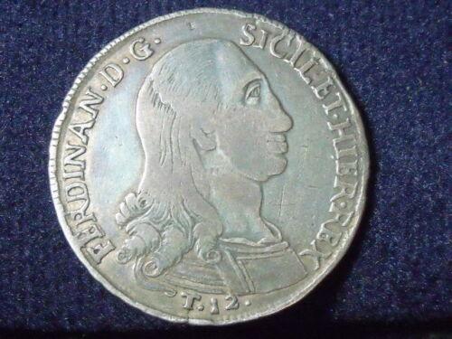 1798 Italian States Kingdom of Sicily 12 Tari Piastra RARE P-168