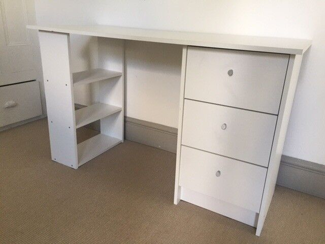 Kids White Desk With Drawers Business Card Desk Holder