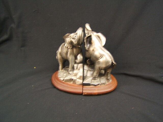 """Vintage Pair of SGC Cast Elephant Metal Bookends c 1975 8 1/2"""" VGC"""