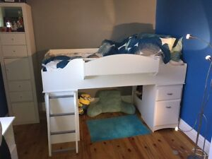 South Shore Twin Loft Bed and Mattress