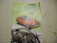 Ford Escort Mk. 3 - Operating manual. Includes Fuel injected models.