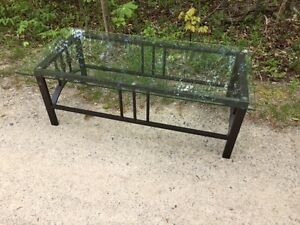 GLASS TOPPED,METAL LEGGED COFFEE TABLE