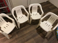 8 kids white plastic garden chairs (ideal for party)