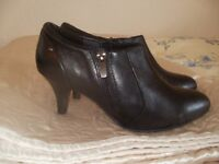 NEW Black Leather Marks & Spencer Shoe Boot Size 3 Wide Fit