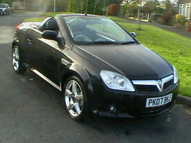 07 REG VAUXHALL TIGRA 1.4 EXCLUSIV CONVERTIBLE IN BLACK WITH BLACK LEATHER