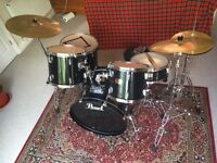 Pearl Export Series Drum Kit Black with Solar Sabian Cymbals and drum pads