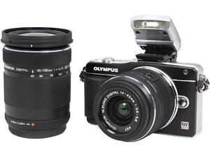 OLYMPUS E-PM2 Black 16.1MP with 14-42mm and 40-150mm Two Lenses Kit V206021BU070