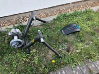 CycleOps Turbo Trainer, Riser Block, and Rear wheel with turbo tyre
