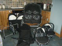 Twin Pram 3in1 Pushchair Double Buggy Twins UMBRELLA +Car seats + Footmuffs