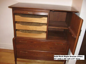 Solid Maple Dresser Chest of Drawers VILAS Rock Maple Wood