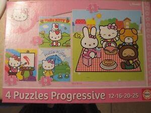 Casse-tête Hello Kitty  (4 casse-têtes progressif-12-16-20-25 mo